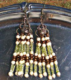 Green Cream And Brown Dangle Earrings  CROWN by PrettyGurlPink, $8.99