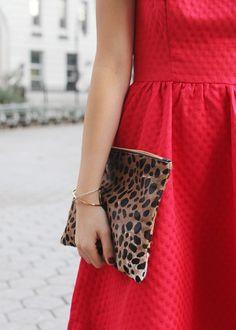 Red Dress & Leopard Clutch