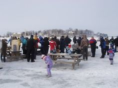 Winter ice party, the harbor of Put-in-Bay, Ohio. (On frozen Lake Erie)