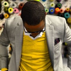 really cool looking #grey & #yellow combination - #men #fashion #style #2015 #casual