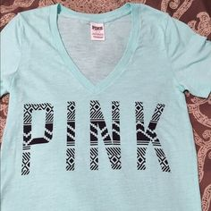 Minute green pink tee I don't think mint will ever go out of style!! Great top to throw on after a long day of laying out at the beach!! Long and lean, so goes great with leggings. PINK Victoria's Secret Tops Tees - Short Sleeve
