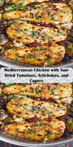 Mediterranean Chicken with Sun-Dried Tomatoes, Artichokes, and Capers Mediterranean Chicken, Dried Tomatoes, Sun Dried, Artichoke, Salmon Burgers, Love Food, Sweet Home, Wings, Dinner