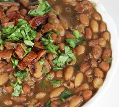 Drunken Mexican Beans with Cilantro & Bacon