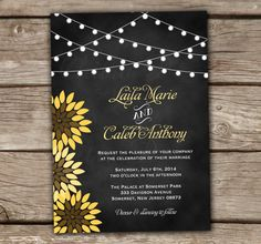 Sunflower Wedding Invitation - Chalkboard, DIY, Printable, Bridal, Baby Shower, Engagement Party, Couples, Birthday, String Lights