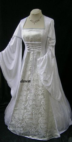 white medevil wedding dress | White and Silver