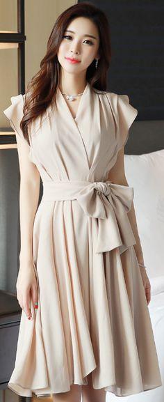 StyleOnme_Romantic Ribbon Waist Tie Chiffon Flared Dress #romantic #chiffon #dress #spring #koreanfashion #feminine #kstyle #kfashion #elegant #datelook