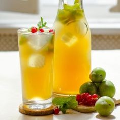 Iced Green Plum Tea, infused with Reines-Claudes plums, is perfectly refreshing on a warm afternoon.