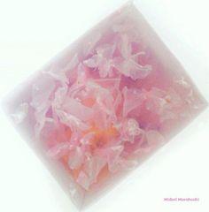 和菓子『さくら寒天 Sakura-Kanten~寒天 Kanten』Agar sweets flavored with Cherry pedals, apricot and cranberry.✳︎Sweets :Midori Morohoshi(http://ameblo.jp/greenonthetable/imagelist.html)
