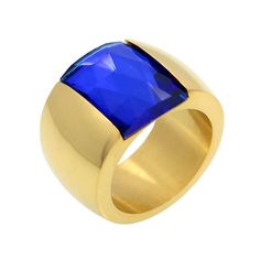 Stainless Steel Austrian Crystal Blue Stone Gold Plated Promise Ring