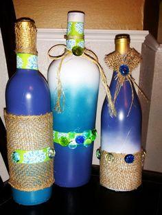 Decorated Wine Bottles; Ombre, burlap, twine