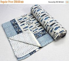 sale off Vintage Kantha Hand Stitched Quilt, 100 Percent Indian Cotton, Bohemian Boho Block Prin Cotton Sheets, Cotton Quilts, Summer Quilts, Kantha Quilt, How To Make Bed, Phish, Baby Quilts, Hand Stitching, Bohemian