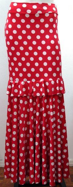 Polka dot flamenco skirt with large and small flounce.