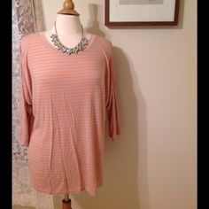 BOGO 1/2 off PLUS SIZESStriped peach top Like new. Bust is 52. Length is 27. 3/4 sleeve. Very soft! trades! Let me know which items you would like to bundle for the BOGO, as I will have to create your listing for sale to reflect. Apt. 9 Tops Tees - Long Sleeve