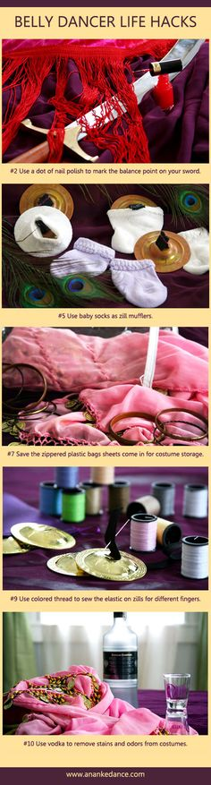 Did you know that you can use different colored thread when sewing the elastic on zills to make it easy to tell which finger they go on? 10 Belly Dancer Life Hacks! Shortcuts to solve every day belly dancing dilemmas.