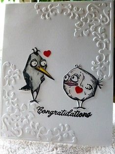Crazy birds are getting married, CAS375 by Carrie3427 - Cards and Paper Crafts at Splitcoaststampers