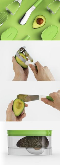 The 'Williams-Sonoma Avocado Tool Kit' has multiple sets of tools to aid you in peeling and mashing the avocado (based on your need) because it can be very hard to peel, mash and preserve an avocado... READ MORE at Yanko Design !