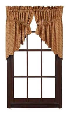 Our Lewiston Scalloped Lined Prairie Swag Curtains are a pretty delicate vintage floral pattern. Add these to any room in your home for privacy and color. https://www.primitivestarquiltshop.com/products/lewiston-scalloped-lined-prairie-swag-curtains #countrystylecurtains