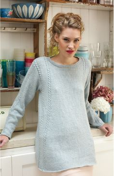 Gorgeous long tunic style pullover...love the relaxed fit - a Debbie Bliss.knitting pattern.