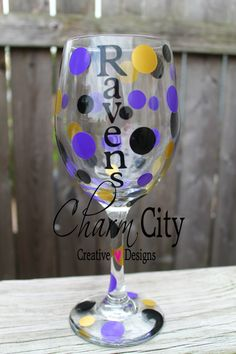 Baltimore Ravens Wine Glass 20oz Personalized by ahindle78 on Etsy, $12.00