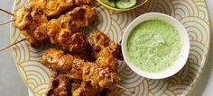 Chicken Tikka Masala Skewers with Coriander Dressing