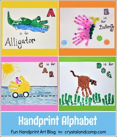 Handprint Alphabet - Letters A, B, C, & D - Fun Handprint Art