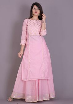 Baby pink kurta skirt set emblisshed with gota work.  #dresses #festive #weddingdresses #suitset #womenclothing #wedding