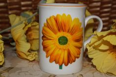 Yellow Daisy Coffee Mug Hand Poured Soy by HappyAccidentCandles, $10.00