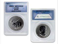 Silver and Gold Graded Coins Canadian Coins, Coin Grading, Silver Bullion, Silver Coins, Thoughtful Gifts, Moose, How To Memorize Things, Queen Elizabeth, Wildlife