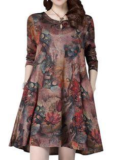 Elegant Ethnic Style Printed Frog O-Neck Mini Dress at Banggood Simple Dresses, Plus Size Dresses, Beautiful Dresses, Casual Dresses, Fashion Dresses, Dresses With Sleeves, Sleeve Dresses, Kalamkari Dresses, Mini Dress Formal