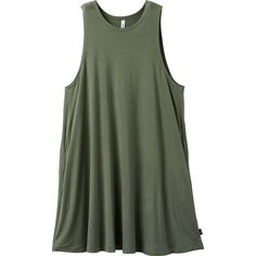 RVCA Women's Sucker Punch 2 Swing Dress (€40) ❤ liked on Polyvore featuring dresses, tops, shirts, tank tops, smoke green, high neck swing dress, high neckline dress, green dress, high neck dress and green color dress