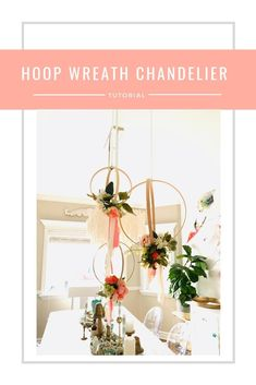 How to make hanging hoop wreath chandelier with flowers · The Glitzy Pear Floral Centerpieces, Wedding Centerpieces, Floral Arrangements, Outdoor Wedding Decorations, Diy Party Decorations, Wedding Dinner, Wedding Table, Wedding Ideas, Flower Chandelier