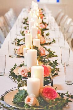 18 New Ideas Wedding Table Settings Romantic Candles Wedding Reception Centerpieces, Simple Centerpieces, Wedding Table Flowers, Wedding Table Centerpieces, Wedding Table Settings, Centerpiece Ideas, Reception Ideas, Inexpensive Wedding Centerpieces, Flower Centerpieces