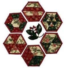 Christmas Patchwork Projects - just the ticket for the holidays. Patchwork Patterns, Quilt Patterns, Sewing Patterns, Christmas Coasters, Christmas Ornaments, Christmas Patchwork, Make Your Own, How To Make, Affordable Jewelry