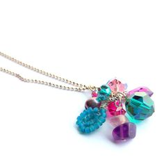 Amethyst teal and fuchsia long necklace in silver