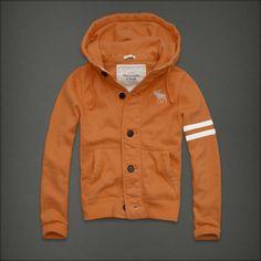 Abercrombie Fitch Button Hættetrøjer Mænd Deer Logo Orange