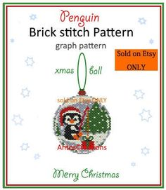 Brick stitch GRAPH PATTERN With this pattern you can create some cute Christmas ornaments or some cute Christmas Jewels like pendants bag charms brooches etc You can also. Felt Christmas Decorations, Beaded Christmas Ornaments, Christmas Balls, Diy Ornaments, Christmas Earrings, Christmas Jewelry, The Snow, Peyote Stitch Patterns, Beading Patterns