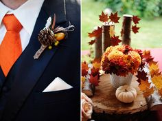 leaves and pumpkins for fall weddings