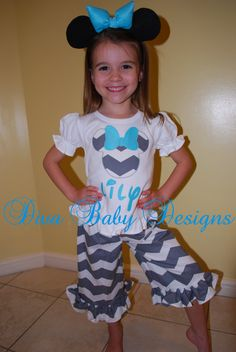 Girls Chevron Minnie Mouse Birthday or Disney by DivaBabyDesigns, $64.99 ****will have to try and make for a lot less!!!!!!