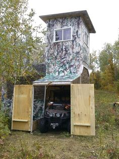 Deer stand with enclosed ATV parking hunting accessories Essentials products hunting blinds stands blinds hunting Deer Hunting Tips, Deer Hunting Blinds, Hunting Cabin, Hunting Guns, Bow Hunting, Coyote Hunting, Pheasant Hunting, Archery Hunting, Deer Hunting Humor