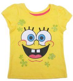 Nickelodeon Spongebob Yellow Short Sleeve Toddler Girls T-shirt Size 2T 3T 4T  #Nickelodeon #Everyday