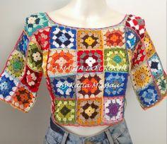 A MAGIA DO CROCHÊ: Cropped de Squares Coloridos em Crochê - Cropped Ana & Vanessa
