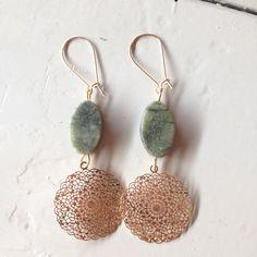 Earrings of DQ gold bohemian charm and green gemstone. www.be-beryl.nl
