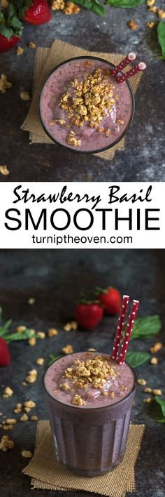This gluten-free, vegan strawberry smoothie gets an unexpected burst of flavor from fresh basil. It's a delicious and healthy way to start your morning!