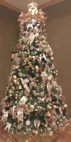 Image result for rose gold christmas tree decorations