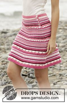 "Berry Ripple – Crochet DROPS skirt in ""Cotton Merino"" with stripes and fan pattern. Size S – XXXL. – Free pattern by DROPS Design crochet skirt Crochet Bodycon Dresses, Black Crochet Dress, Crochet Skirts, Knit Skirt, Crochet Clothes, Lace Skirt, Lace Dress, Midi Skirt, Skirt Pattern Free"