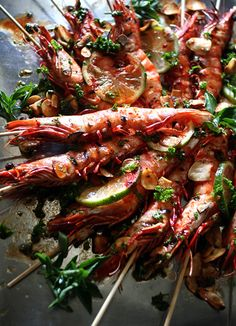 GRILLED BLACK TIGER PRAWN SKEWERS with GARLIC, LIME, PARSLEY & CILANTRO [Masaki Higuchi] [lard.blog87] [recipe-blog] [Higuccini] [shrimp prawn]
