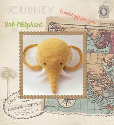 Crochet Big Elephant Head Wall Mount Trophy White