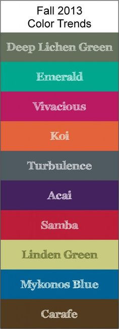 Fall 2013 Color Trends...Someone had to tell us this, right?