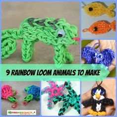 9 Rainbow Loom Animals to Make Rainbow Loom Easy, Rainbow Loom Tutorials, Rainbow Loom Patterns, Rainbow Loom Bands, Rainbow Loom Charms, Rainbow Loom Bracelets, Loom Band Animals, Rainbow Loom Animals, Loom Bands Instructions