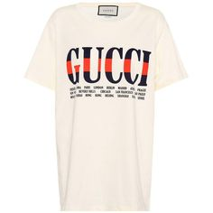 Gucci Printed Cotton T-Shirt ($410) ❤ liked on Polyvore featuring tops, t-shirts, white, gucci, gucci tee, pink top, gucci t shirt and pink t shirt